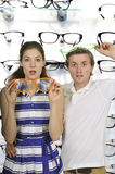Couple with silly glasses Royalty Free Stock Photo