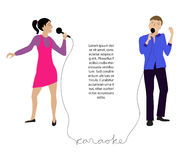 Couple singing into microphone vector Stock Photo