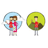 Couple or Single, Trendy cartoon girl and boy, woman and man, fiends. A couple of friends, boy and girl, woman and man waving to the camera and a single man vector illustration