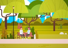 Couple Sit On Bench In City Park Talking Man And Woman Relaxing In Nature Communicating. Flat Vector Illustration stock illustration