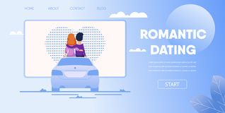 Couple Sit on Car Watching Movie at Parking Lot. Romantic Dating Concept. Love Couple Boyfriend Girlfriend Sit on Car Watching Movie at Parking Lot. Open Air vector illustration