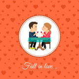 Couple sit at the table. Fall in love couple sit at the table, valintines day card template with orange background Royalty Free Stock Image