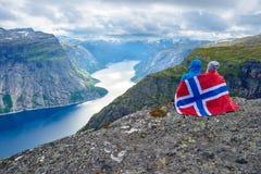 Blue lake in Norway near Trolltunga Royalty Free Stock Photos
