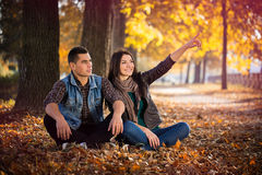 Couple sitting autumn park Stock Images