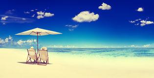 Couple Sitting Beach Summer Getaway Concept Stock Photography