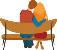 Couple sitting on a bench Stock Photography