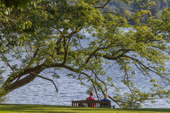 Couple sitting on a bench gazing at Lake Windremere in Ambleside Stock Images