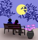Bench in the Moonlight Royalty Free Stock Image