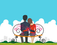 Couple sitting on a bench. In the park and admire landscape of the city on Valentine's Day. Vector illustration Stock Photos