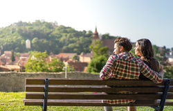 A couple sitting on a bench Royalty Free Stock Images
