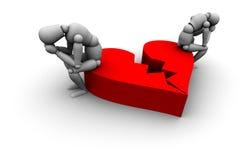 Couple Sitting on Broken Heart. Super high resolution 3D Mannequins Sitting on broken heart in red Stock Photo