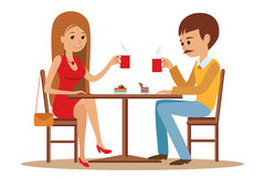 Couple sitting in the cafe, flirting and talking about something. Boy and a girl on a date in a cafe drinking coffee. Vector illustration of template for menu Royalty Free Stock Photo