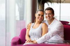 Couple sitting cafe Royalty Free Stock Photography