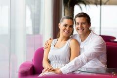 Couple sitting cafe Royalty Free Stock Photography
