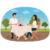 A couple sitting in the cafe outside having a coffee and talking vector illustration. A couple sitting in the cafe outside having a coffee and talking vector Royalty Free Stock Images