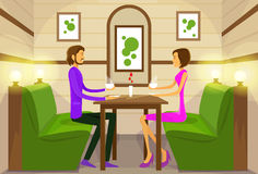 Couple Sitting Cafe Table Drink Coffee Romantic. Love Dating Vector Illustration Royalty Free Stock Photos