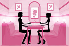 Couple Sitting Cafe Table Drink Coffee Romantic. Love Silhouettes Dating Pink Color Vector Illustration Stock Photography