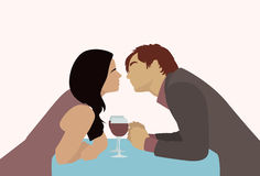 Couple Sitting Cafe Table Drink Wine Kiss Romantic Date Stock Image