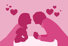 Couple Sitting Cafe Table Kiss Romantic Date Pink Color Silhouettes Stock Photo
