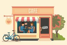 Couple sitting in the cafe. Vector flat Stock Photo
