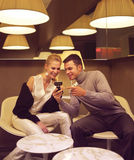 Couple sitting in the cafe Stock Photography