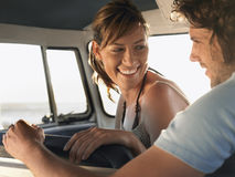 Couple Sitting In Campervan Stock Images