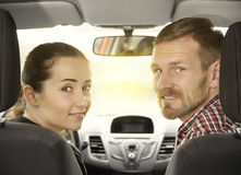 Couple sitting in a car Royalty Free Stock Photography