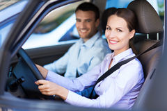 Couple sitting in car Stock Photos