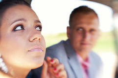Couple sitting in car Royalty Free Stock Image