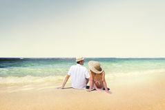 Couple Sitting Comfortable Beach Holiday Concept Royalty Free Stock Photo
