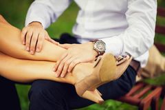 Couple sitting on a natural Royalty Free Stock Photo