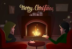 Couple Sitting Near Fireplace, Merry Christmas And Happy New Year Winter Holiday. Couple Sitting Near Fireplace, Merry Christmas And Happy New Year Winter Royalty Free Stock Image