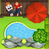 Couple sitting near pond aerial perspective Stock Photography