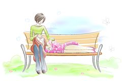 Couple sitting on Park Bench. Easy to edit vector illustration of couple sitting on park bench vector illustration
