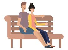 Couple sitting in park chair avatar character. Vector illustration design royalty free illustration