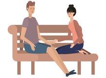 Couple sitting in park chair avatar character. Vector illustration design vector illustration