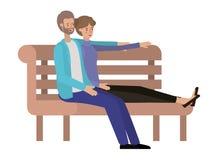 Couple sitting in park chair avatar character. Vector illustration design stock illustration