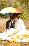 Couple sitting at the park with umbrella Stock Images