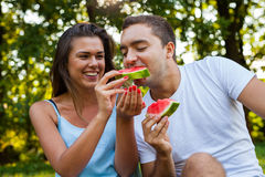 Couple sitting on a picnic blanket and eating watermelon. Royalty Free Stock Image