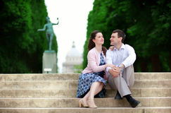 Couple sitting on the stairs Stock Images