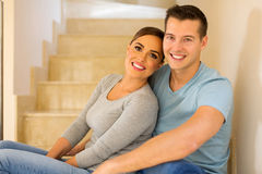 Couple sitting stairs Stock Images