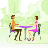 Couple Sitting Street Cafe Outdoor at Table Stock Image