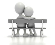 Couple sitting together on park bench royalty free illustration