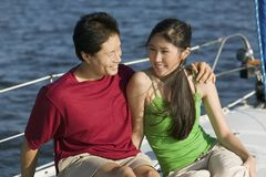 Couple Sitting Together On The Yacht Royalty Free Stock Photography