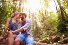 Couple Sitting On Tree Trunk In Forest Together Stock Images