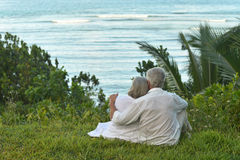 Couple sitting  on  tropical beach. Happy elderly couple sitting  on  tropical beach. Back view Stock Photography
