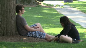 A couple sitting under a tree in the park. stock footage