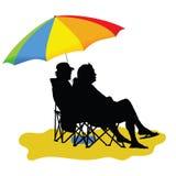 Couple sitting under umbrella vector illustration Royalty Free Stock Photography