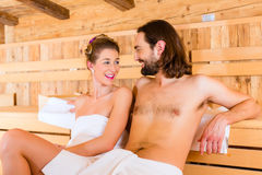 Couple sitting in wellness spa Stock Photos