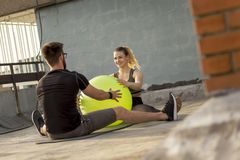 Couple workout stock photography